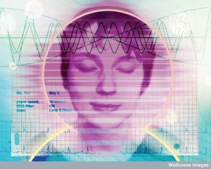 Woman meditating showing brain waves and ECG trace.  (Credit:  Nanette Hoogslag, Wellcome Images)