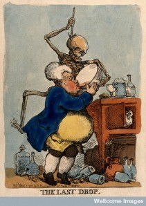 A man drinking himself to death (Coloured etching by T. Rowlandson, 1811).
